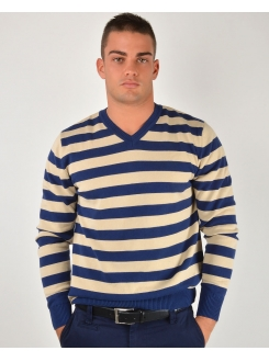MARSHALL DŽEMPER Navy Beige Stripes (pamuk)