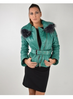 LEDER JAKNA Green With Fur