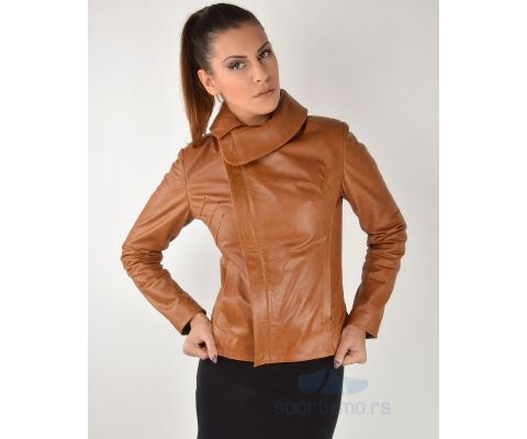 LEDER JAKNA Brown High Collar