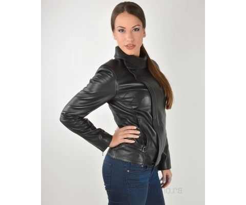LEDER JAKNA Black High Collar