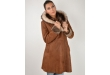 LEDER JAKNA Bunda Long Brown With Fur