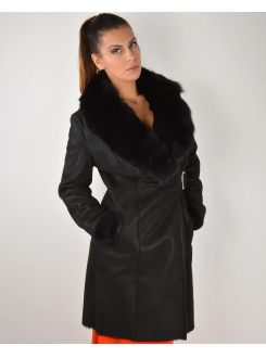 LEDER JAKNA Bunda Long Black With Fur