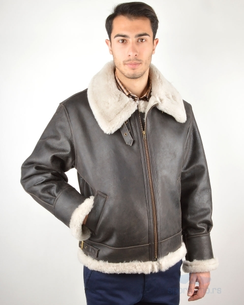 LEDER JAKNA Dark Brown With Wool Men