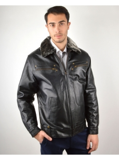 LEDER JAKNA Black Pilot II Men