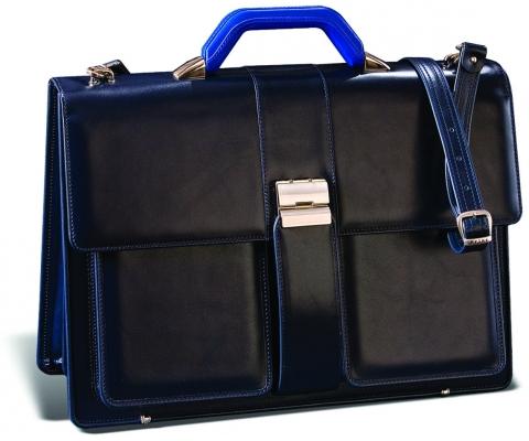 PRINC TORBA Diplomat 2 Black and Blue Men (Goveđa koža)