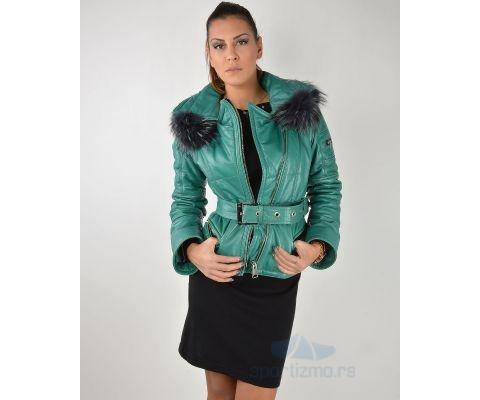 LEDER JAKNA Green With Fur