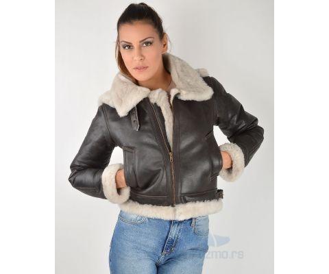 LEDER JAKNA Short Brown With Wool