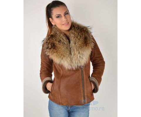LEDER JAKNA Bunda Midle Brown With Fur