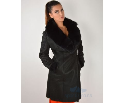 LEDER JAKNA Bunda Long Black With Fur