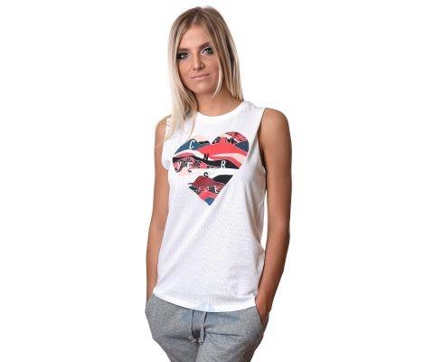 CONVERSE MAJICA Mesh Layerd Heart Muscle Tee Women