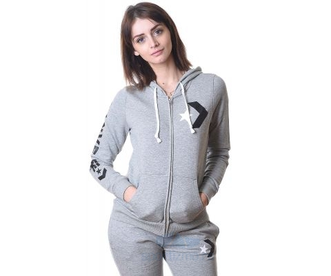 CONVERSE DUKS Star Chevron Full-Zip Hoodie Vintage Grey Women